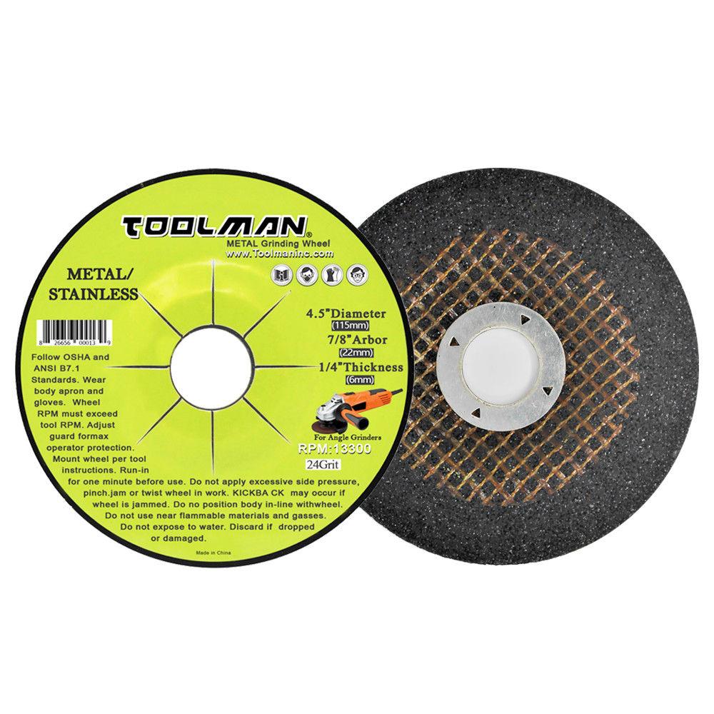 "5pc TOOLMAN 4.5/"" x 7//8/"" x 1//4/"" Premium Grinding Wheel for Metal 24 Grit 13300RPM"