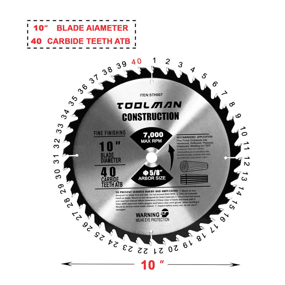 10 Quot 5 8 Quot 40t Table Circular Saw Blade Carbide Tipped For