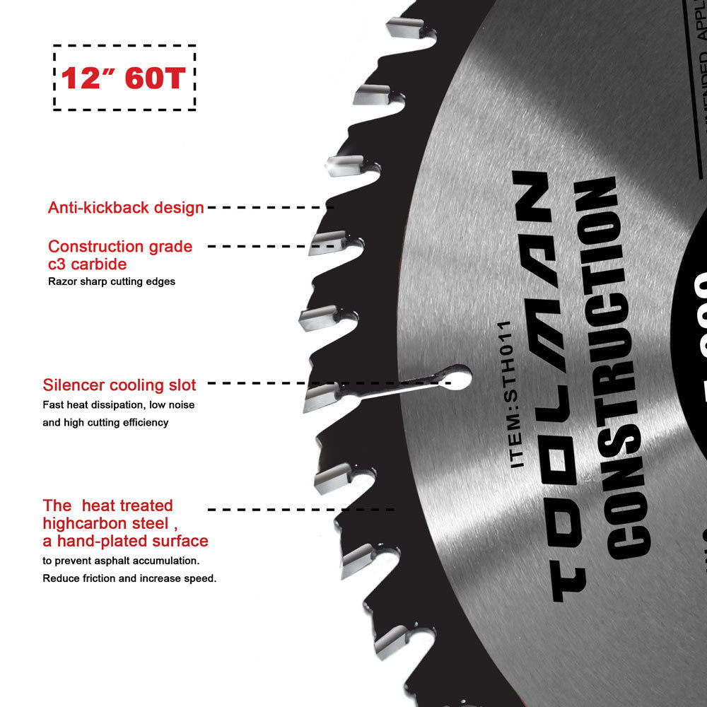 """12/"""" x1/"""" 80T Carbide Tip Table Miter Cutting Circular Saw Blade For Wood"""