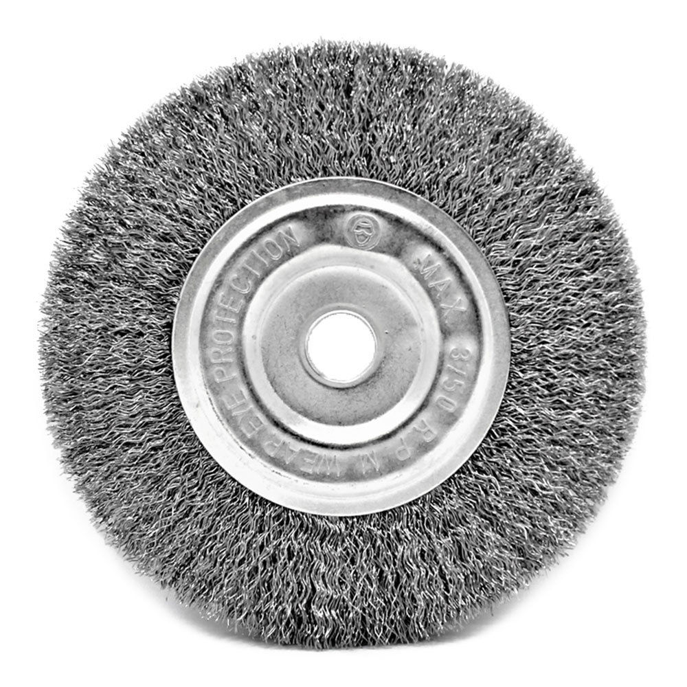 Toolman Heavy Duty 6 Quot X 1 2 Quot 5 8 Quot Crimped Wire Bench Wheel
